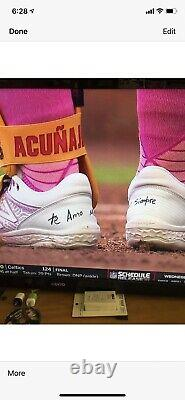 Ronald Acuna Jr. Atlanta Braves Game Used Cleats 2021 Mothers Day Signed MLB