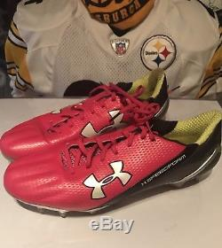 Shamarko Thomas Pittsburgh Steelers Game Used Worn Breast Cancer Cleats
