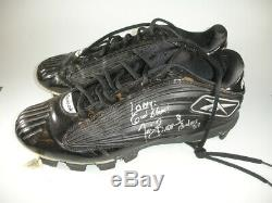 Tim Brown'Last Game' Game Used Autographed Cleats given to Larry Fitzgerald
