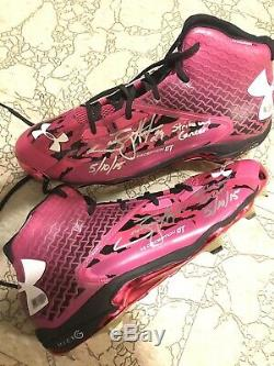 Tommy Hunter Game Used Autographed Cleats Orioles Rangers Phillies