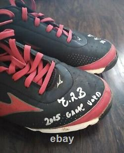 Victor Robles 2015 Game Used Mizuno Cleats Signed & Inscribed 4x Times ONYX COA