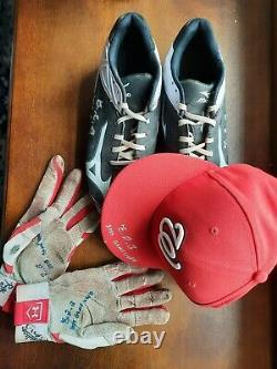 Victor Robles 2015 game used worn cap, cleats, gloves autographed auto Nationals