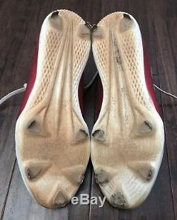 Xander Bogaerts USED 2017 GAME USED CLEATS game worn SIGNED auto RED SOX